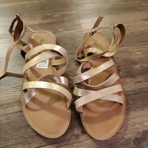 American Eagle By Payless Shoes - Gold Strappy Sandals